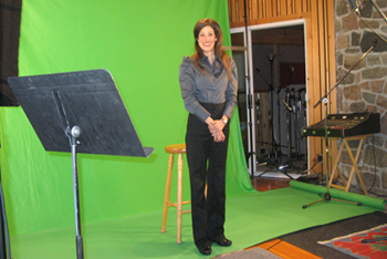 Amy on green screen